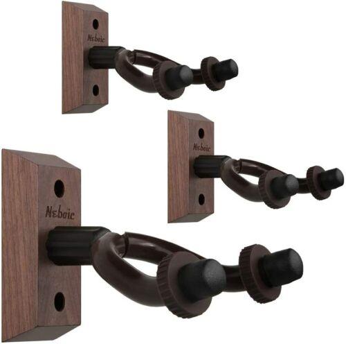 3 Pack Guitar Wall Mount, Neboic Wood Guitar Wall Hanger