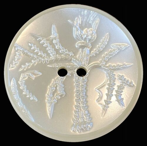 Extra Large Vintage Acrylic Button w/ Raised Thistle, Pearlescent Finish
