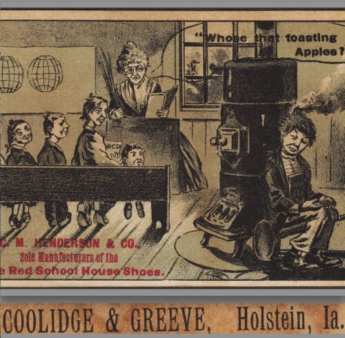 Holstein IA Henderson Little Red School House Shoe Greeve Advertising Trade Card