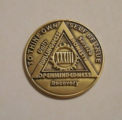 aa bronze alcoholics anonymous 33 year sobriety chip coin token medallion, used for sale  Shipping to Canada