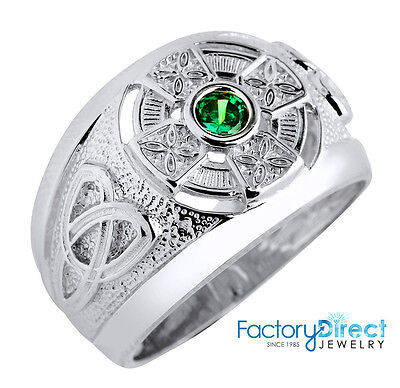 .925 Sterling Silver Celtic Men's Ring with Emerald Green CZ (Made in USA)