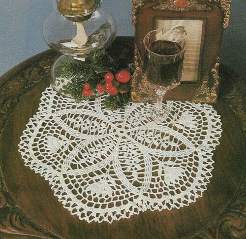 "ELEGANT LACE DOILY 14"" DIAMETER DIGEST SIZE CROCHET PATTERN INSTRUCTIONS"