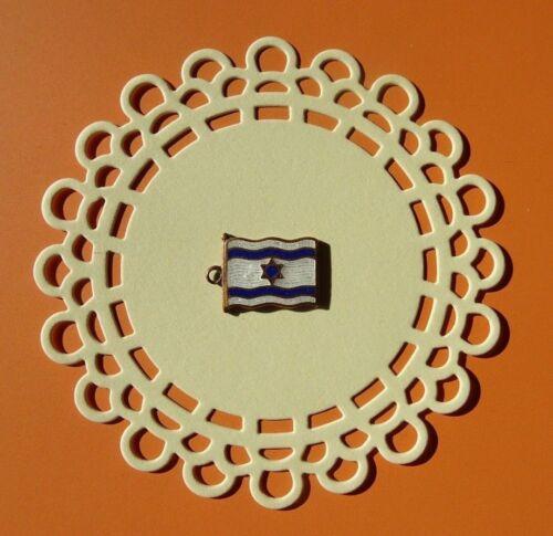 Vintage RARE Israel enamel flag metal pin charm gold tone Palestine