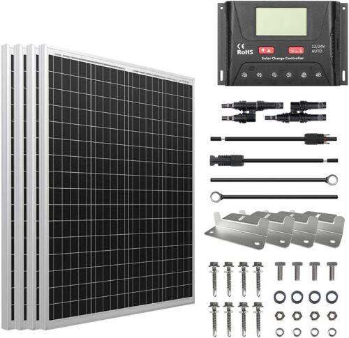 HQST 100W 200W 400W Solar Panel Poly Kit 12V Battery Charge Controller RV Camper