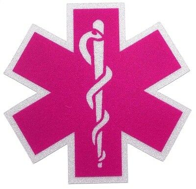 Pink Fire Helmets (Pink Reflective Vinyl Star Of Life Car or Fire Helmet Decal EMS EMT 2)