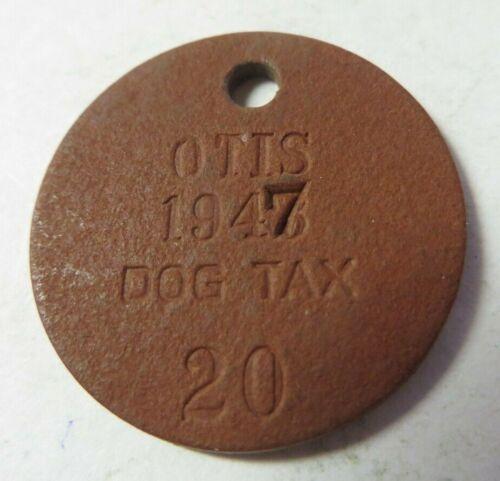 Vintage 1947 Dog Tag License Tax Receipt OTIS, KANSAS #20 Exonumia LOW NUMBER