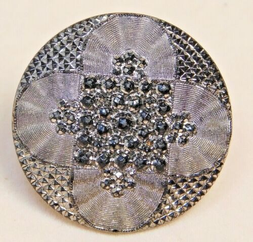 Antique Vtg BUTTON Victorian Silver Luster LACY Glass NICE! #C1