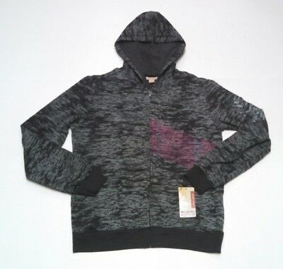 Womens Mossimo Hoodie Large Burnout Black Gray Full Zip Hooded Jacket Burnout Zip Hoodie