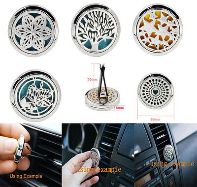 10Style Stainless Car Air Vent Freshener Essential Oil Diffuser Locket Best