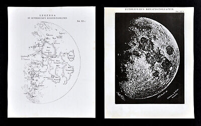 1872 Muller Astronomy Rutherfurd's Moon Photo with Map of Lunar Craters 2 Prints