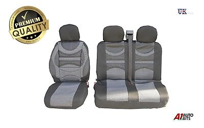 FORD TRANSIT CUSTOM SEAT COVERS SET PREMIUM COMFORT PADDED GREY FOR  2+1