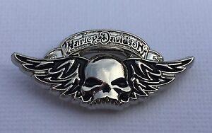 Metal Pin Badge USA Biker Sportster FatBoy Cruiser Bobber Chopper - Winged Skull