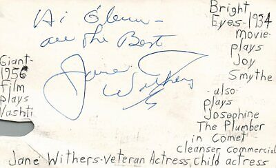 Jane Withers Veteran Actress Bright Eyes Giant Autographed Signed Index (Jumbo Bright Eyes)