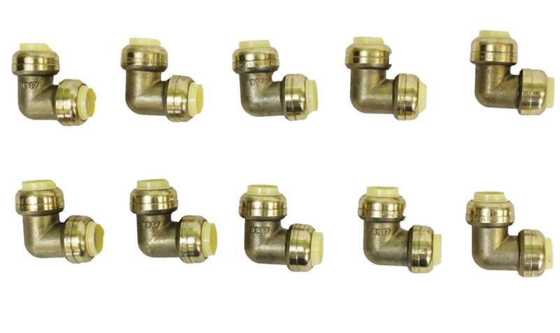 """1/2"""" x 1/2"""" Sharkbite Style Push Fit Elbow Fittings Lead Free Brass 10 Pieces"""