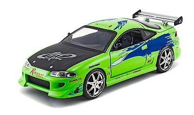 JADA Fast And Furious Brian's 1995 Mitsubishi Eclipse 1:24 Green Diecast Car