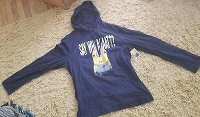 Men's SZ XL Despicable Me Minion Say Whaaaatt?? Hybrid Hoodie Pullover ~](Minion Hoodie)