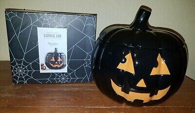 Martha Stewart Halloween Jack-O-Lantern Black Pumpkin Orange Face Cookie Jar New