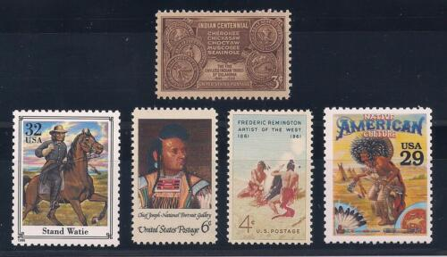 NATIVE AMERICAN INDIANS - SET OF 5 U.S. STAMPS - CHIEF JOSEPH, STAND WAITE +