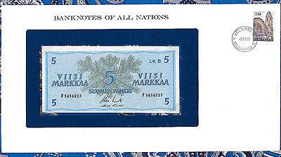 *Banknotes of All Nations Finland 5 Markkaa 1963 UNC P106Aa.9 Margins irregular