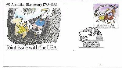 AUSTRALIA F.D.C 26/1/88 JOINT ISSUE WITH U.S.A.BICENTENARY OF AUSTRALIA SG 1110