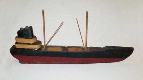 Antique Vtg C 1920s Welded Iron Folk Art Ship Sculpture Dated 1924 Original Pain