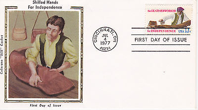 COLORANO SILK CACHET FIRST DAY COVER FDC - 1977 SKILLED HANDS THE LEATHERWORKE