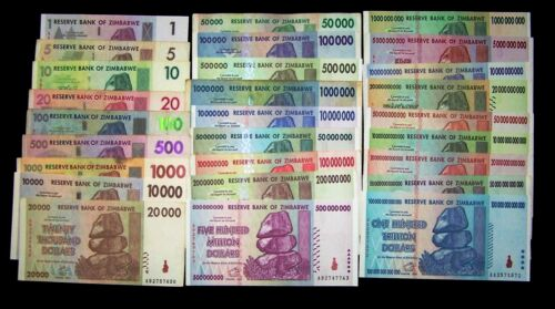 27 Zimbabwe Banknotes: FULL Set, $1 dollar- $100 Trillion dollars-paper currency