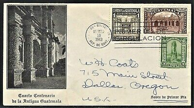 GUATEMALA 1943 SCOTT C125 CACHETED FIRST DAY COVER