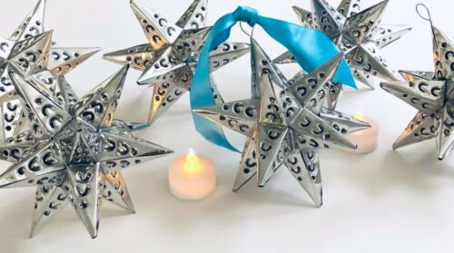 Punched TIN STARS Set (6) Estrellas Hanging Star Ornaments, Silver Finish