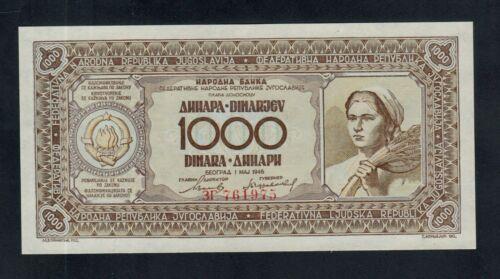 YUGOSLAVIA  1000  DINARA  1946   PICK # 67a   UNC.