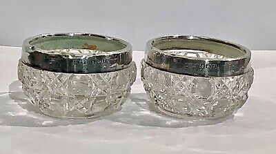 Lovely Pair Walton & Co. Sterling Silver Mounted Cut Glass Salts HM B'ham 1905