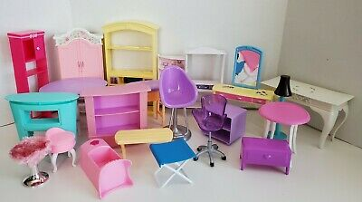 Barbie Furniture Lot For Doll Dream House Chairs Tables Desk Counter Display