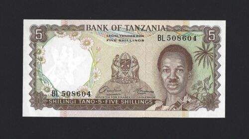 TANZANIA 5 Shillings 1966, P-1, Pack Fresh UNC & A Pretty Type