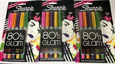 3 Pack! Sharpie Permanent Colored Markers, 5/Pkg-80's Glam Ultra Fine Point  (Sharpie Packs)