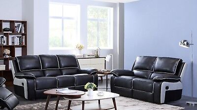 HOLDEN SOFA SET RANGE LEATHER RECLINER SOFAS BLACK GREY PIPING LAZYBOY SOFA SET