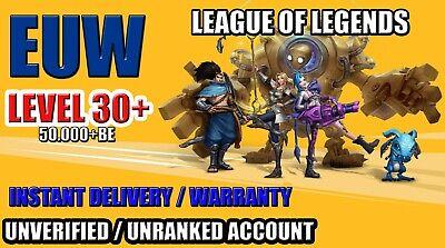 Cuenta LOL League of legends EUW Lvl 30+ 50.000+ BE ✅ Sin...