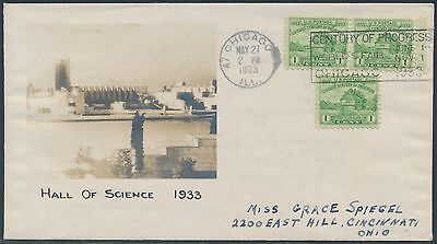 733  3X  On Beazell Fdc  Hall Of Science 1933  Cachet Cv  300 Bs2484