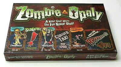 Zombie Party Games Halloween (ZOMBIE OPOLY Monopoly Style Halloween Party Game NEW SEALED FAST)