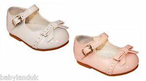 Sevva Infant Girls Patent Walking Shoes Bow Trim Pink or