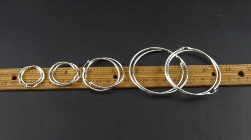 Five Pairs Sterling Silver Hoop Earrings 925 FAS Thailand Sizes 2 1/4 to 1 Inch