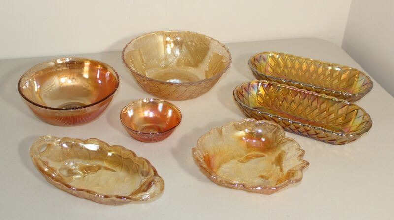 Mixed Lot 7 Indiana Imperial Carnival Glass Marigold Amber Serving Dishes Bowls
