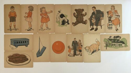 14 Picture Flash Cards 7x12 1940s Vintage Language Arts Dick Jane Great Graphics
