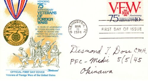 Desmond Doss(1919-2006) Autographed VFW cover US Army Medal of Honor Winner
