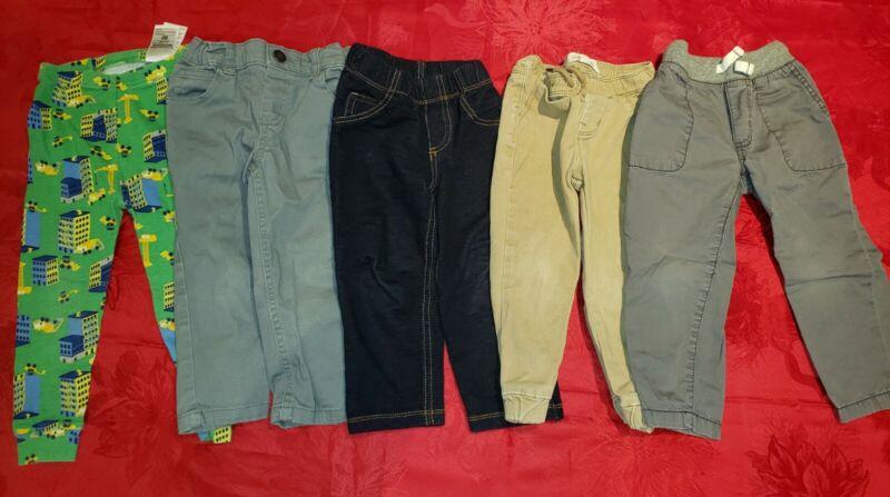 2T Toddler Boys Pants Lot 9 Pairs Of Pants 2T/24 months Cotton Pants Lot