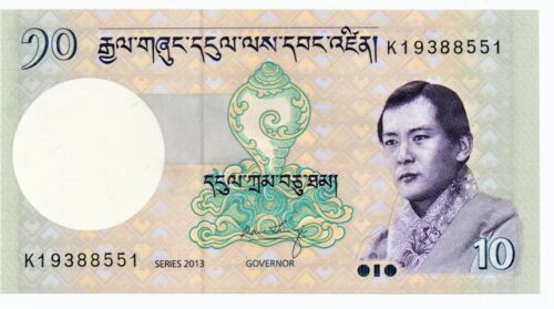 Bhutan 10 Ngultrum Banknote 2013 as pictured