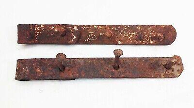 Vtg antique cast iron forged barn door gate strap hinges 12