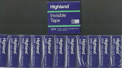 3m Highland Invisible Tape 6200 12 Rolls 34 X 36 Yards New In Box Free Ship