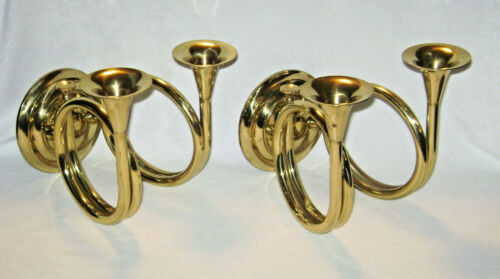 Vintage Pair Brass Horn Double Candle Holder Wall Sconces by Valsan Portugal