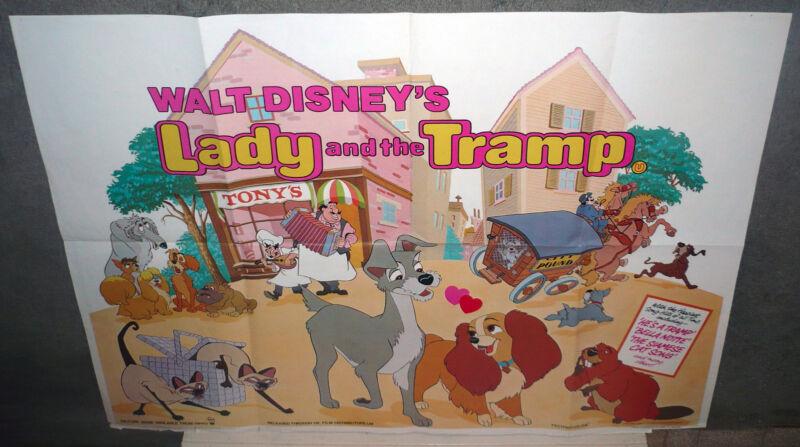 LADY AND THE TRAMP original DISNEY U.K. 30x40 Quad Movie Poster