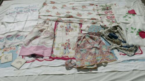 Vintage Lot Cutter Craft Linens Tablecloths Towels Hot Pad Holders Apron Runner